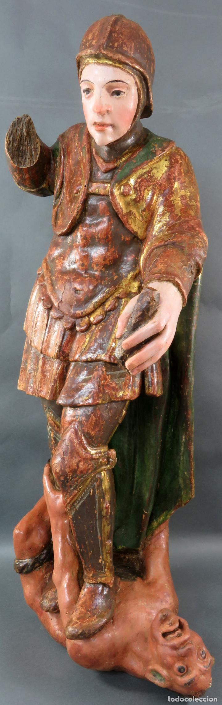 Arte: Talla San Miguel en madera tallada dorada y policromada escuela castellana finales del siglo XVI - Foto 6 - 194787448
