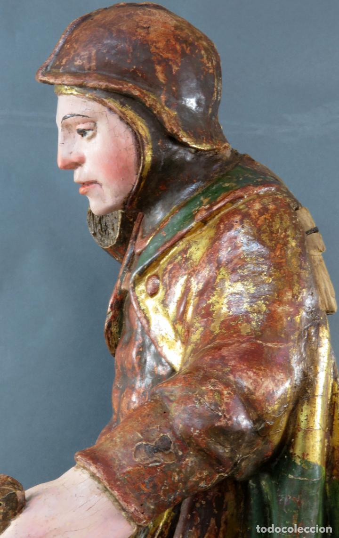 Arte: Talla San Miguel en madera tallada dorada y policromada escuela castellana finales del siglo XVI - Foto 9 - 194787448