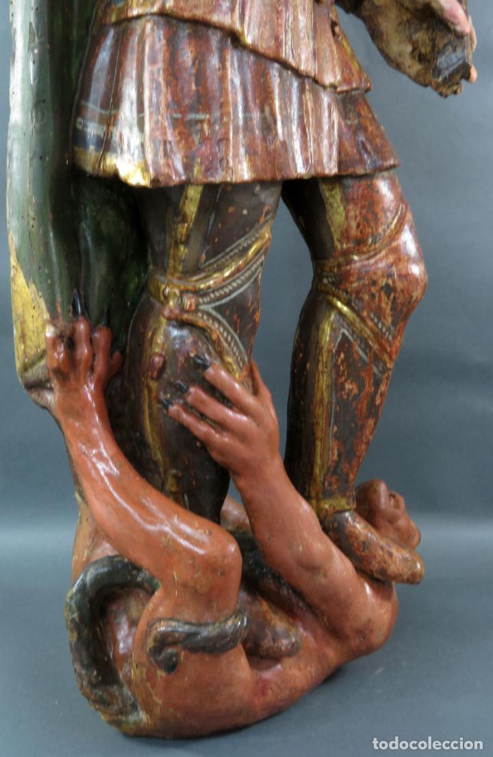 Arte: Talla San Miguel en madera tallada dorada y policromada escuela castellana finales del siglo XVI - Foto 14 - 194787448