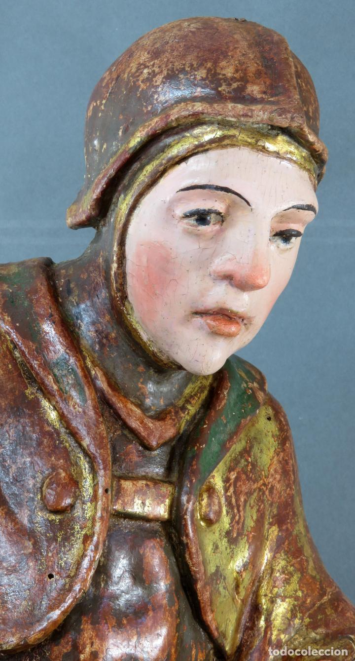 Arte: Talla San Miguel en madera tallada dorada y policromada escuela castellana finales del siglo XVI - Foto 17 - 194787448