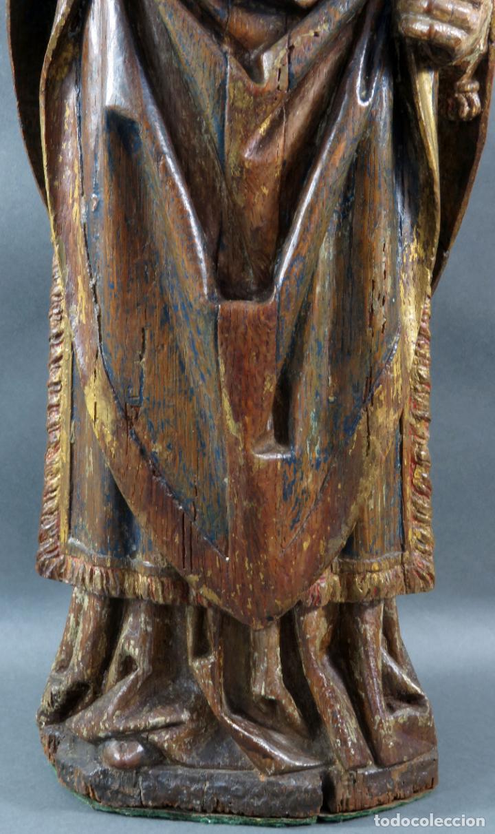 Arte: Talla obispo bendiciendo en madera tallada policromada circulo Alejo de Baiha principios siglo XVI - Foto 4 - 194787992