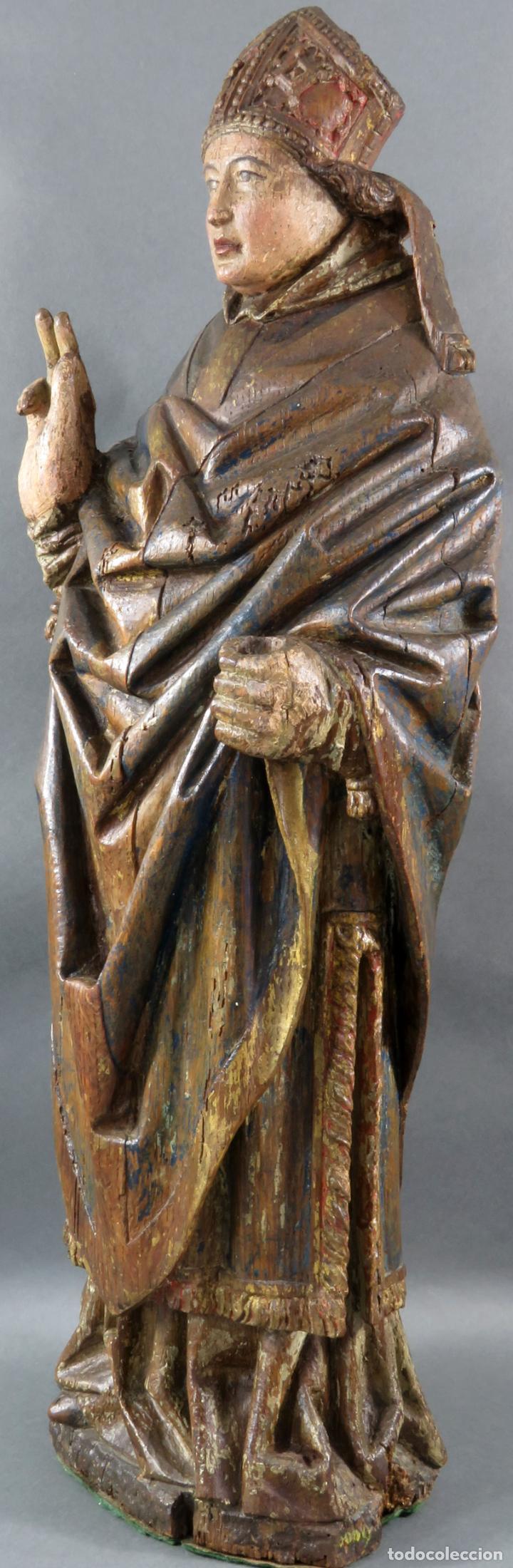 Arte: Talla obispo bendiciendo en madera tallada policromada circulo Alejo de Baiha principios siglo XVI - Foto 5 - 194787992