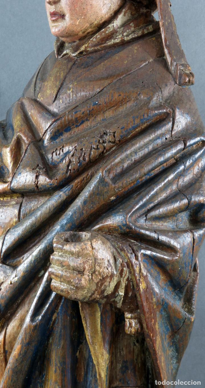 Arte: Talla obispo bendiciendo en madera tallada policromada circulo Alejo de Baiha principios siglo XVI - Foto 6 - 194787992
