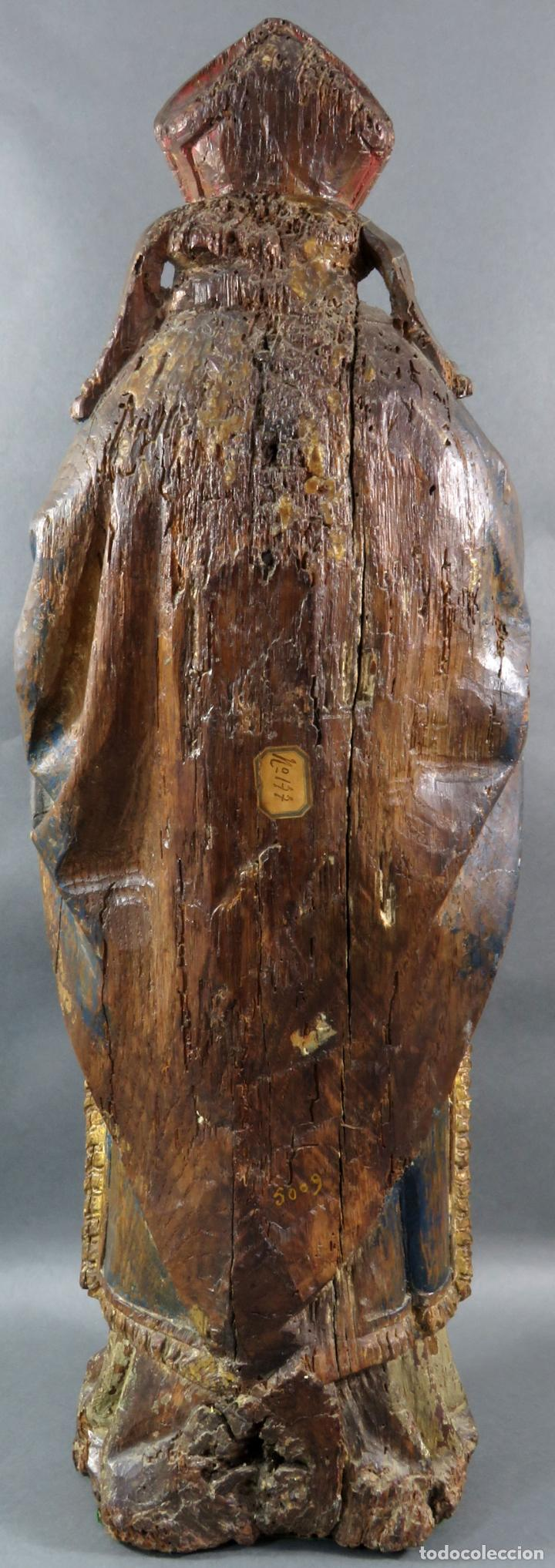 Arte: Talla obispo bendiciendo en madera tallada policromada circulo Alejo de Baiha principios siglo XVI - Foto 7 - 194787992