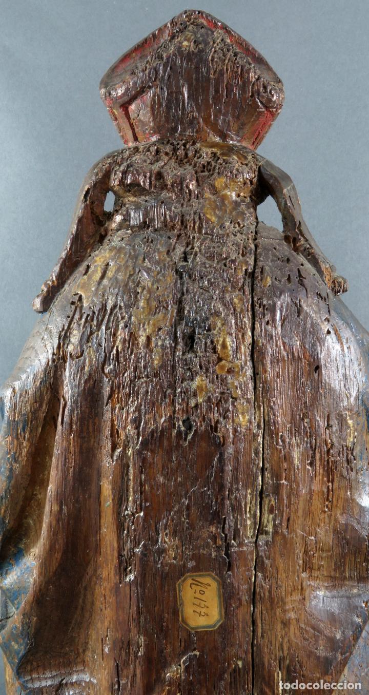 Arte: Talla obispo bendiciendo en madera tallada policromada circulo Alejo de Baiha principios siglo XVI - Foto 8 - 194787992