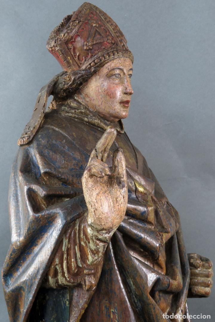 Arte: Talla obispo bendiciendo en madera tallada policromada circulo Alejo de Baiha principios siglo XVI - Foto 11 - 194787992