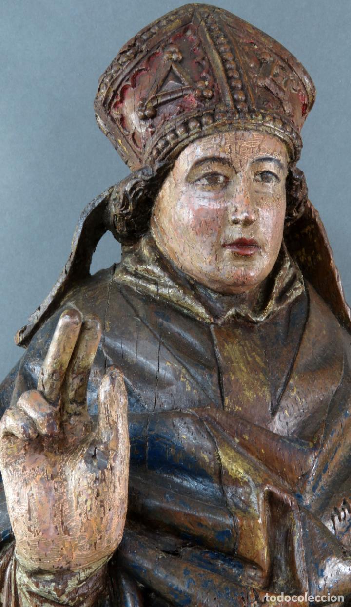 Arte: Talla obispo bendiciendo en madera tallada policromada circulo Alejo de Baiha principios siglo XVI - Foto 12 - 194787992