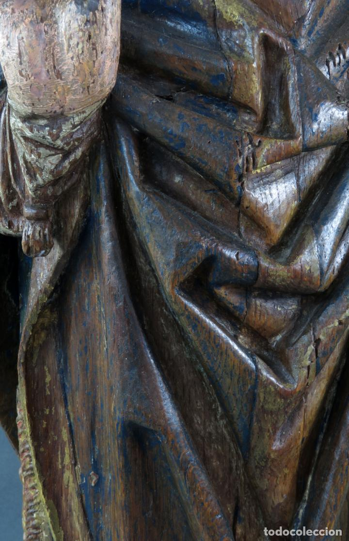 Arte: Talla obispo bendiciendo en madera tallada policromada circulo Alejo de Baiha principios siglo XVI - Foto 14 - 194787992