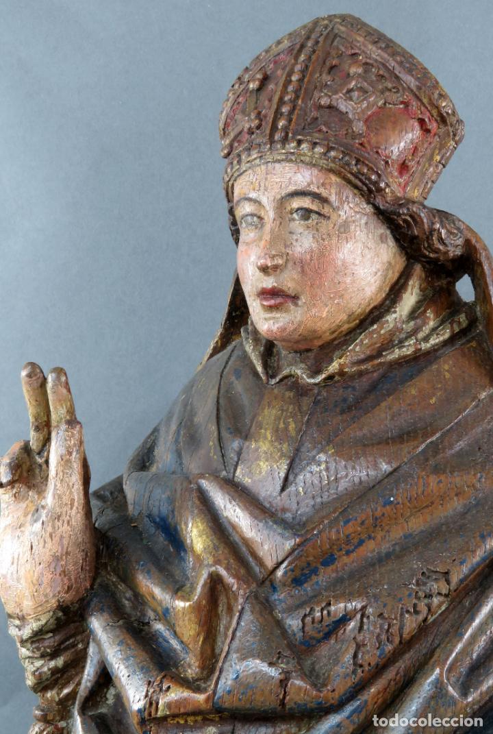Arte: Talla obispo bendiciendo en madera tallada policromada circulo Alejo de Baiha principios siglo XVI - Foto 15 - 194787992