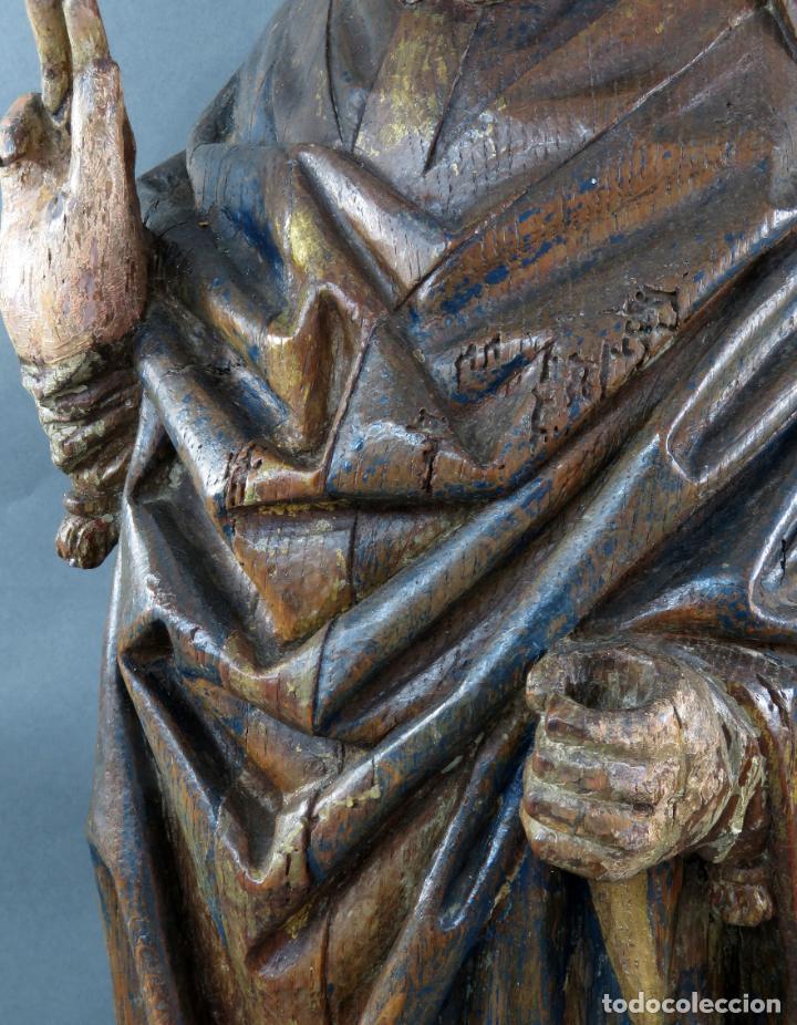 Arte: Talla obispo bendiciendo en madera tallada policromada circulo Alejo de Baiha principios siglo XVI - Foto 16 - 194787992