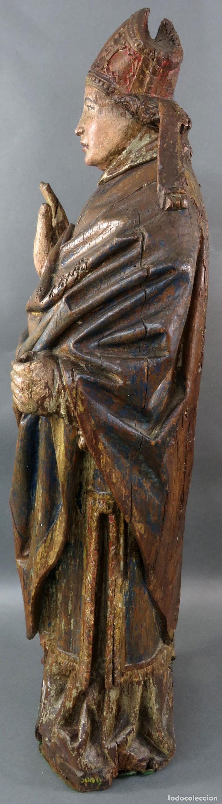 Arte: Talla obispo bendiciendo en madera tallada policromada circulo Alejo de Baiha principios siglo XVI - Foto 17 - 194787992