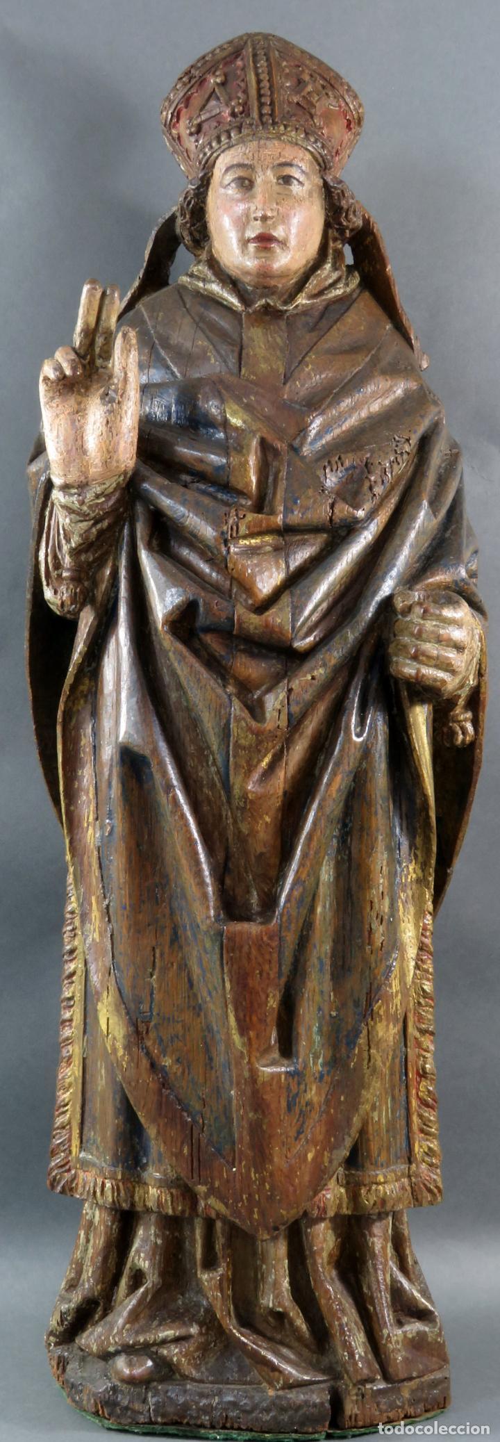 TALLA OBISPO BENDICIENDO EN MADERA TALLADA POLICROMADA CIRCULO ALEJO DE BAIHA PRINCIPIOS SIGLO XVI (Arte - Arte Religioso - Escultura)