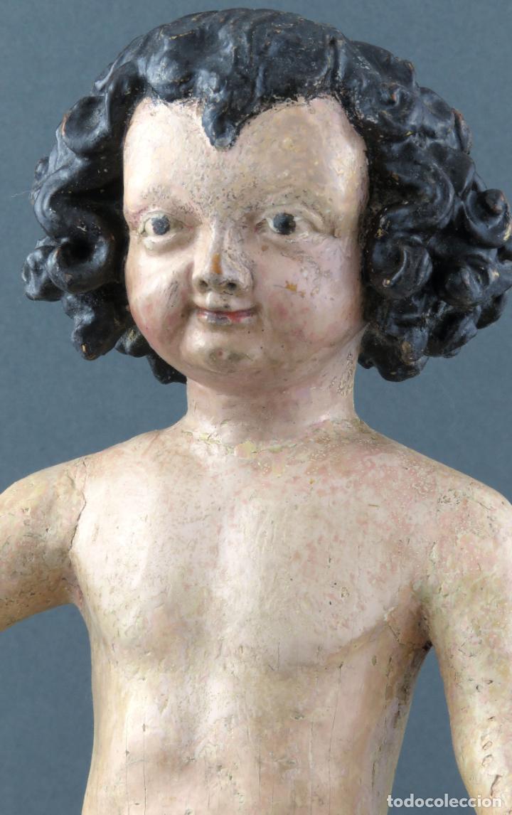 Arte: Talla Niño Jesús inspirado Malinas en madera tallada policromada escuela flamenca del siglo XVII - Foto 3 - 194789390