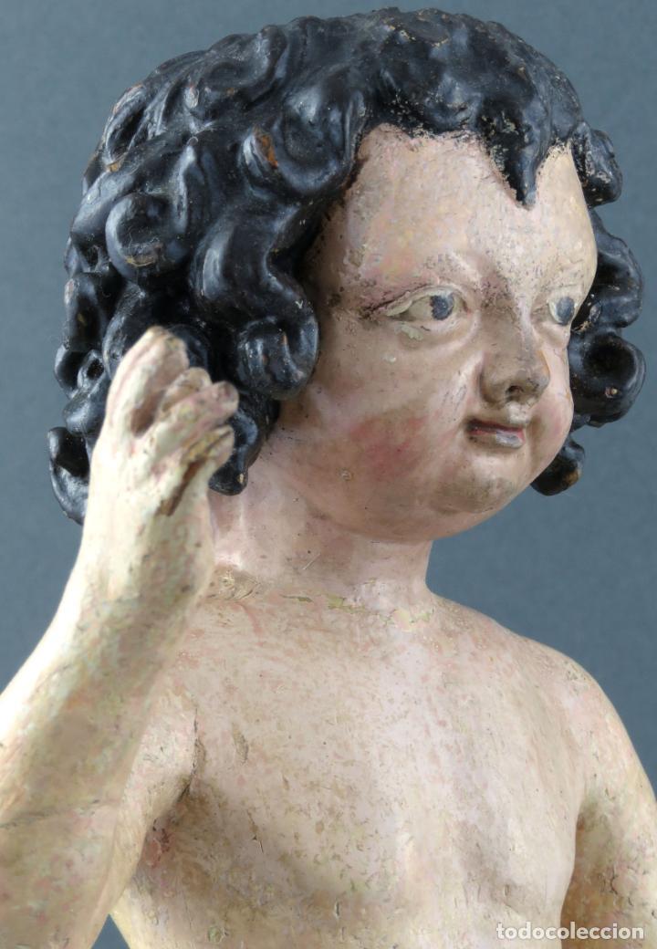 Arte: Talla Niño Jesús inspirado Malinas en madera tallada policromada escuela flamenca del siglo XVII - Foto 11 - 194789390
