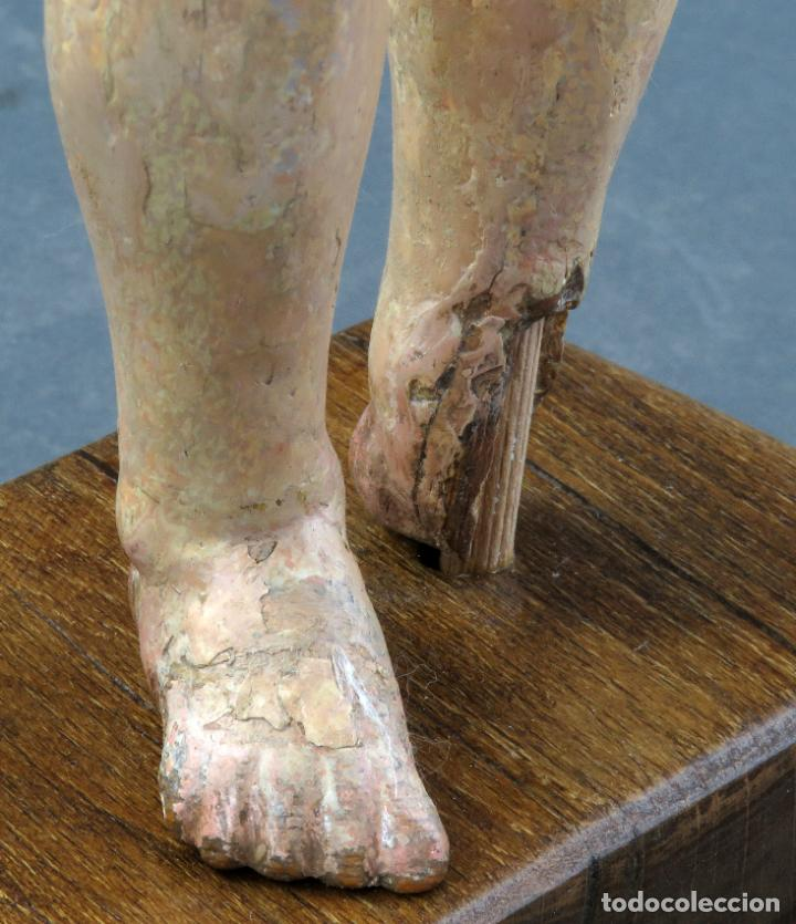Arte: Talla Niño Jesús inspirado Malinas en madera tallada policromada escuela flamenca del siglo XVII - Foto 14 - 194789390