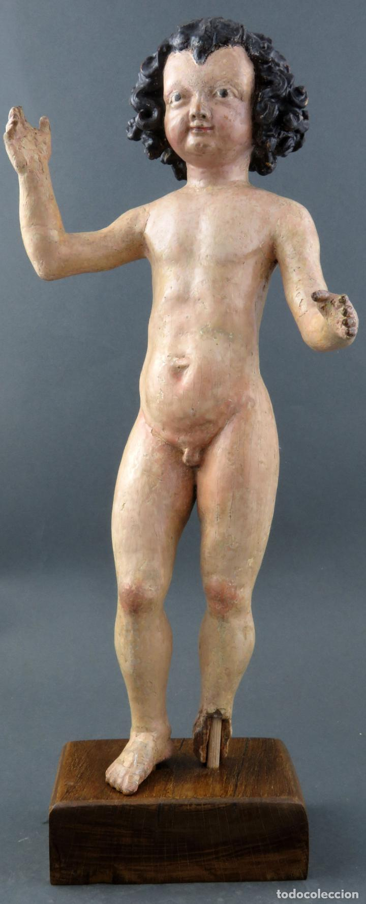 TALLA NIÑO JESÚS INSPIRADO MALINAS EN MADERA TALLADA POLICROMADA ESCUELA FLAMENCA DEL SIGLO XVII (Arte - Arte Religioso - Escultura)
