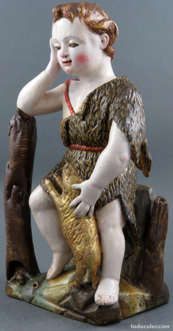 Arte: Talla San Juanito con el cordero madera tallada y policromada escuela portuguesa del siglo XVII - Foto 4 - 194798980