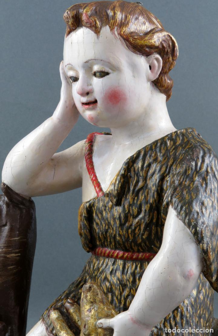 Arte: Talla San Juanito con el cordero madera tallada y policromada escuela portuguesa del siglo XVII - Foto 5 - 194798980