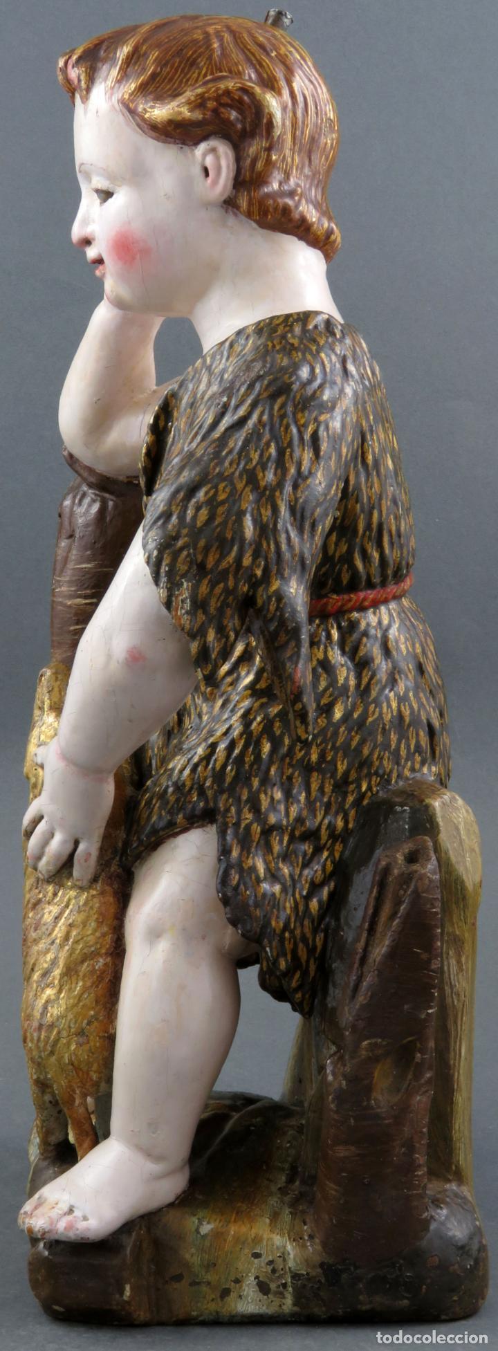 Arte: Talla San Juanito con el cordero madera tallada y policromada escuela portuguesa del siglo XVII - Foto 6 - 194798980