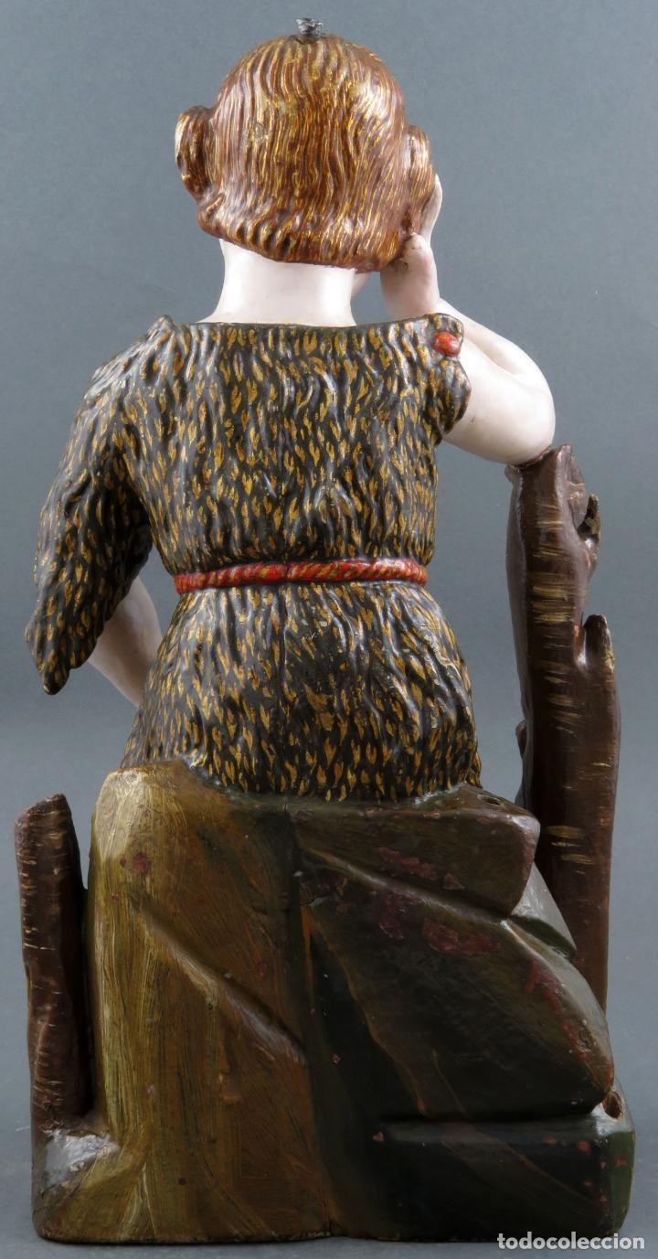 Arte: Talla San Juanito con el cordero madera tallada y policromada escuela portuguesa del siglo XVII - Foto 7 - 194798980