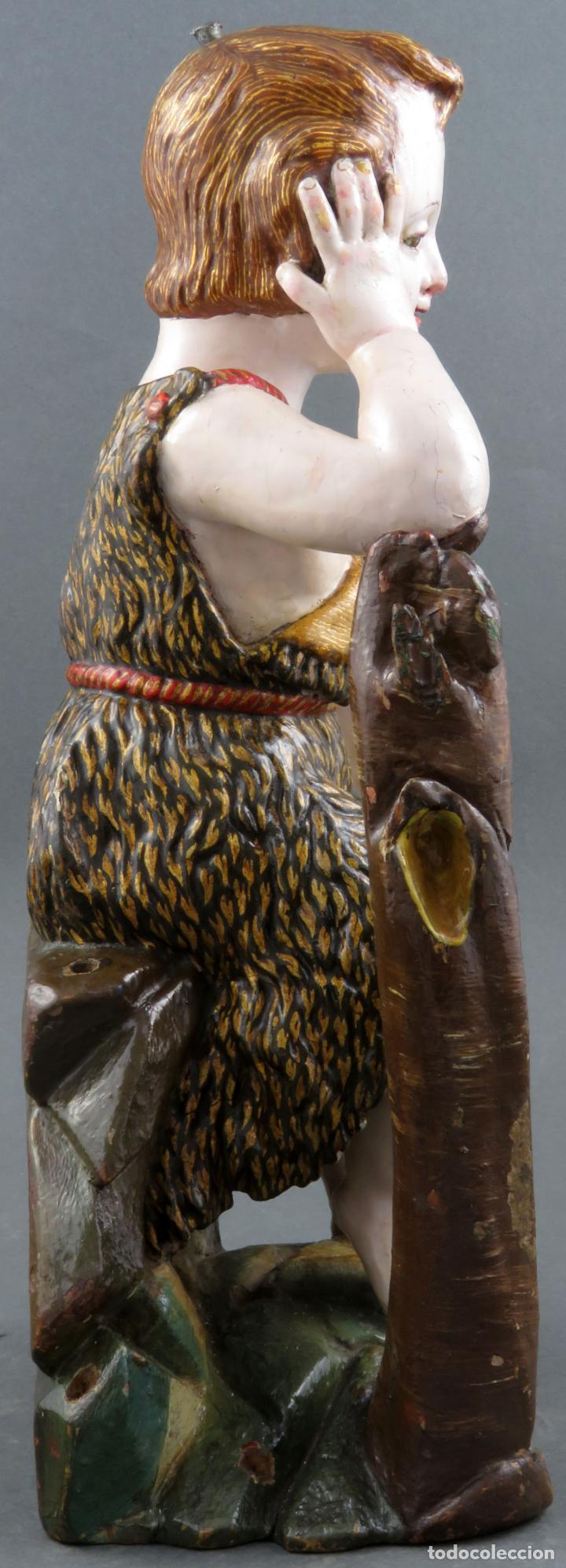 Arte: Talla San Juanito con el cordero madera tallada y policromada escuela portuguesa del siglo XVII - Foto 8 - 194798980