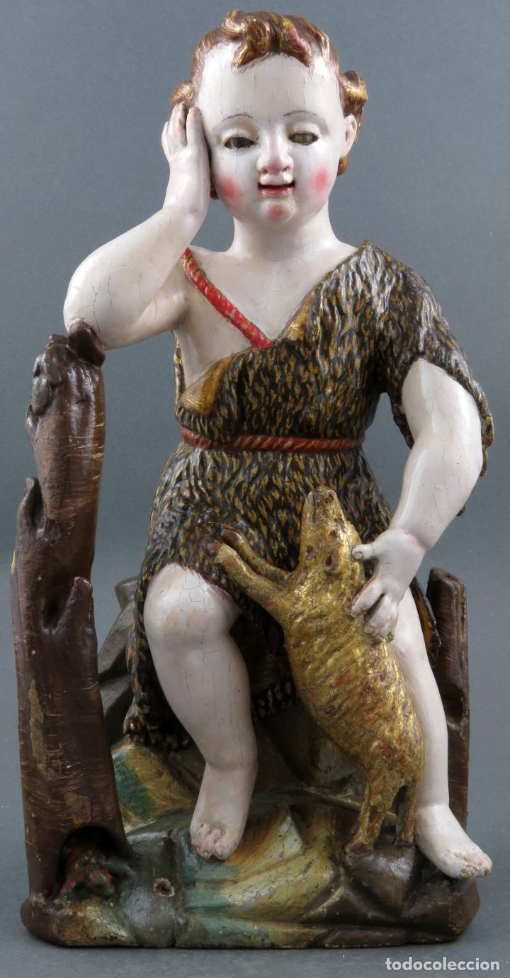 TALLA SAN JUANITO CON EL CORDERO MADERA TALLADA Y POLICROMADA ESCUELA PORTUGUESA DEL SIGLO XVII (Arte - Arte Religioso - Escultura)