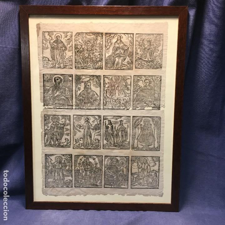 PAPEL GOIG XILOGRABADO PLANCHAS RELICARIO PARA COLOREAR VARIOS SANTOS S XVII XVIII 50X39CMS (Arte - Arte Religioso - Grabados)