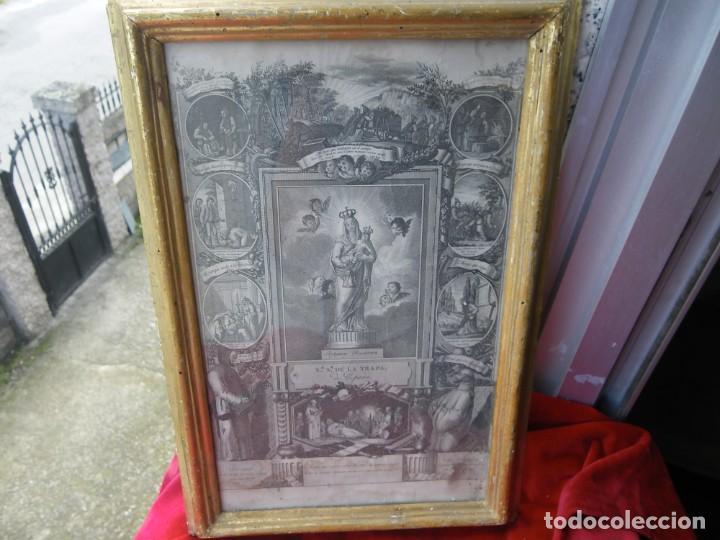 GRABADO DE FRANCISCO JORDAN, VIRGEN DE LA TRAPA . ORO .CRISTAL ORIGINAL MAXIMA CALIDAD , VER (Arte - Arte Religioso - Grabados)