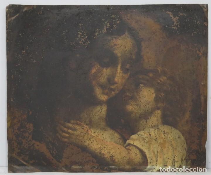 BONITA VIRGEN CON EL NIÑO. OLEO S/ COBRE. SIGLO XVII (Arte - Arte Religioso - Pintura Religiosa - Oleo)