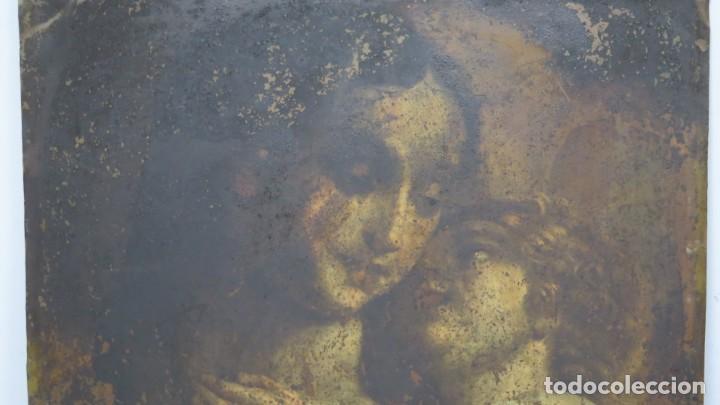 Arte: BONITA VIRGEN CON EL NIÑO. OLEO S/ COBRE. SIGLO XVII - Foto 5 - 194895975