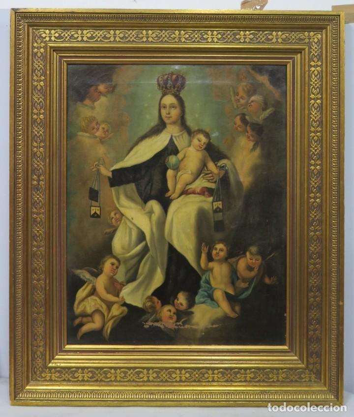 VIRGEN DEL CARMEN. OLEO S/ LIENZO. SIGLO XVIII-XIX (Arte - Arte Religioso - Pintura Religiosa - Oleo)