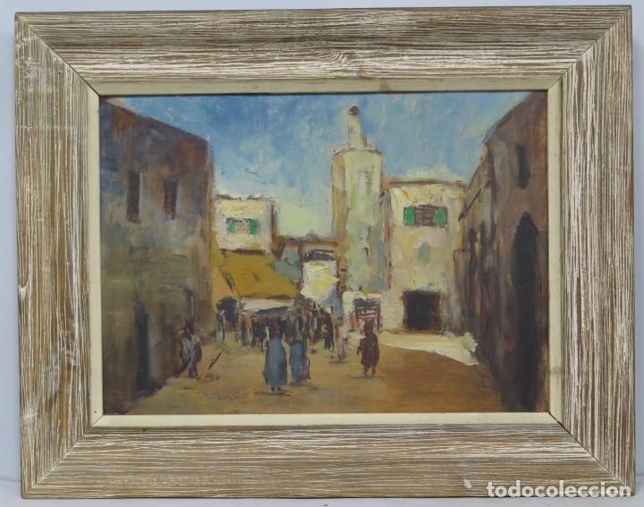 VISTA DE RABAT. OLEO S/ CARTON. AMPARO CRUZ HERRERA (1926-2013) (Arte - Arte Religioso - Pintura Religiosa - Oleo)