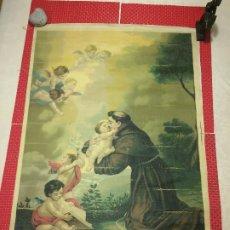 Arte: SAN ANTONIO DE PADUA CON EL NIÑO EN BRAZOS - OLEOGRAFÍA - AÑOS 50 - BARTOLOMÉ ESTEBAN MURILLO. Lote 194900943