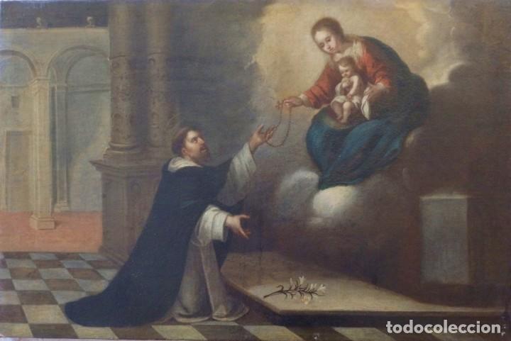 SANTO DOMINGO GUZMAN Y LA VIRGEN DEL ROSARIO. ESCUELA SEVILLANA. SIGLO XVII. MED: 95 X 63 CM. (Arte - Arte Religioso - Pintura Religiosa - Oleo)
