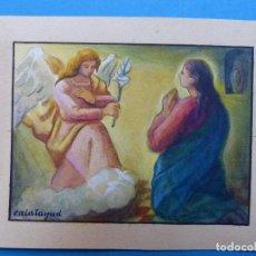Arte: TEMA RELIGIOSO - PRECIOSO ORIGINAL PINTADO A MANO - AÑOS 1950-60 - ILUSTRADO POR CALATAYUD. Lote 194946640