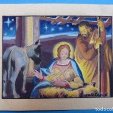 Arte: TEMA RELIGIOSO - PRECIOSO ORIGINAL PINTADO A MANO - AÑOS 1950-60 - ILUSTRADO POR CALATAYUD. Lote 194946671