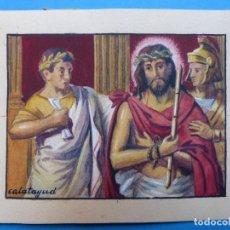 Arte: TEMA RELIGIOSO - PRECIOSO ORIGINAL PINTADO A MANO - AÑOS 1950-60 - ILUSTRADO POR CALATAYUD. Lote 194946703