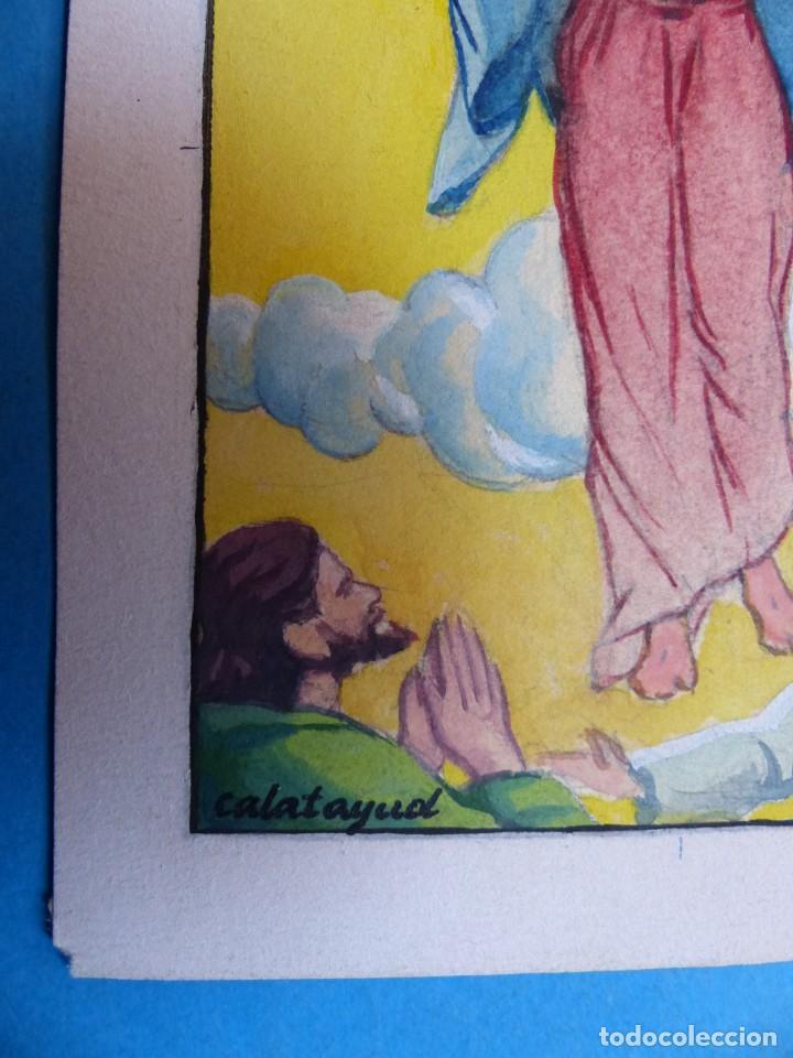 Arte: TEMA RELIGIOSO - PRECIOSO ORIGINAL PINTADO A MANO - AÑOS 1950-60 - ILUSTRADO POR CALATAYUD - Foto 2 - 194946782
