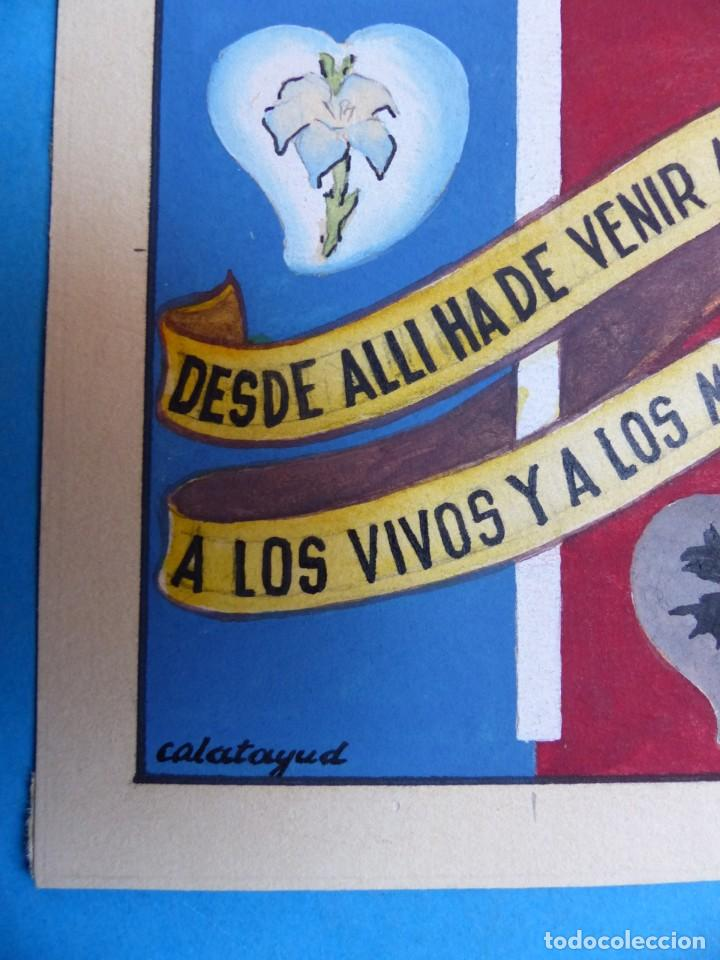 Arte: TEMA RELIGIOSO - PRECIOSO ORIGINAL PINTADO A MANO - AÑOS 1950-60 - ILUSTRADO POR CALATAYUD - Foto 2 - 194946822