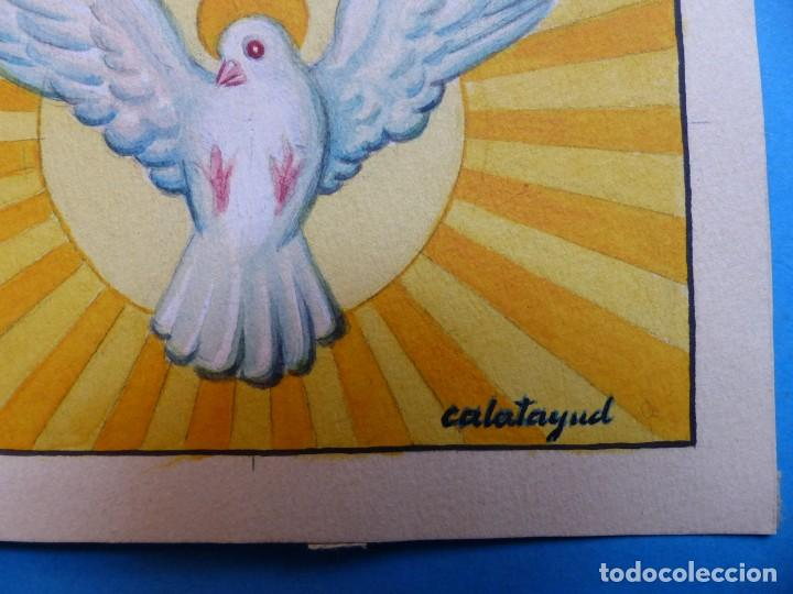 Arte: TEMA RELIGIOSO - PRECIOSO ORIGINAL PINTADO A MANO - AÑOS 1950-60 - ILUSTRADO POR CALATAYUD - Foto 2 - 194946846