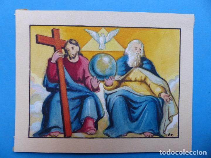 TEMA RELIGIOSO - PRECIOSO ORIGINAL PINTADO A MANO - AÑOS 1950-60 - ILUSTRADO POR CALATAYUD (Arte - Arte Religioso - Pintura Religiosa - Otros)