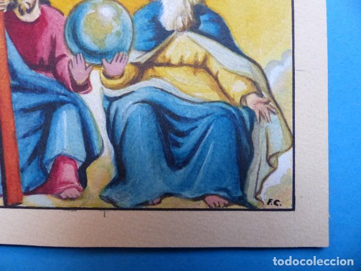 Arte: TEMA RELIGIOSO - PRECIOSO ORIGINAL PINTADO A MANO - AÑOS 1950-60 - ILUSTRADO POR CALATAYUD - Foto 2 - 194946916