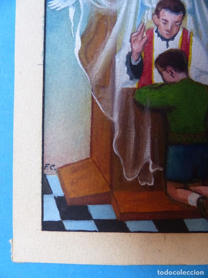 Arte: TEMA RELIGIOSO - PRECIOSO ORIGINAL PINTADO A MANO - AÑOS 1950-60 - ILUSTRADO POR CALATAYUD - Foto 2 - 194946940