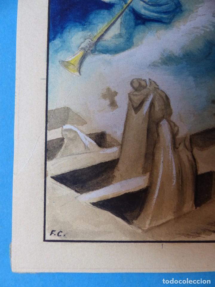 Arte: TEMA RELIGIOSO - PRECIOSO ORIGINAL PINTADO A MANO - AÑOS 1950-60 - ILUSTRADO POR CALATAYUD - Foto 2 - 194946957