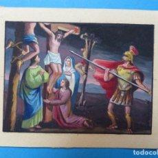 Arte: TEMA RELIGIOSO - PRECIOSO ORIGINAL PINTADO A MANO - AÑOS 1950-60 - ILUSTRADO POR CALATAYUD. Lote 194946993