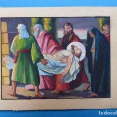 Arte: TEMA RELIGIOSO - PRECIOSO ORIGINAL PINTADO A MANO - AÑOS 1950-60 - ILUSTRADO POR CALATAYUD. Lote 194947406