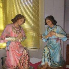 Arte: ANGELES CUSTODIOS - ORADORES - OLOT - MUY ANTIGUOS - 46 CMS. ALTO - LEER ESTADO. Lote 194995432