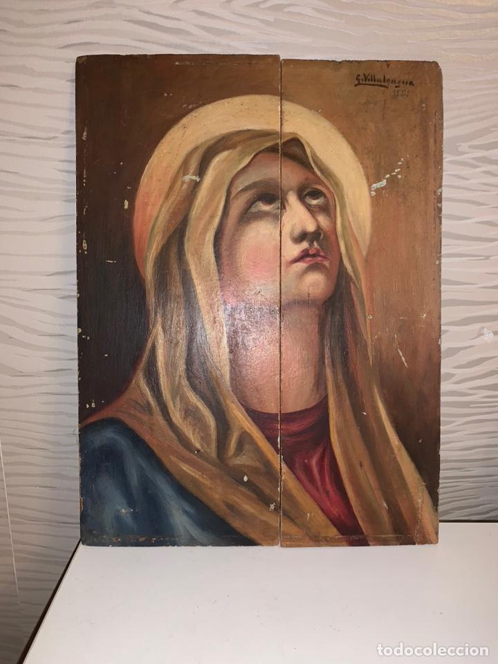 VIRGEN. ÓLEO SOBRE TABLA. 35X26 CM (Arte - Arte Religioso - Pintura Religiosa - Oleo)