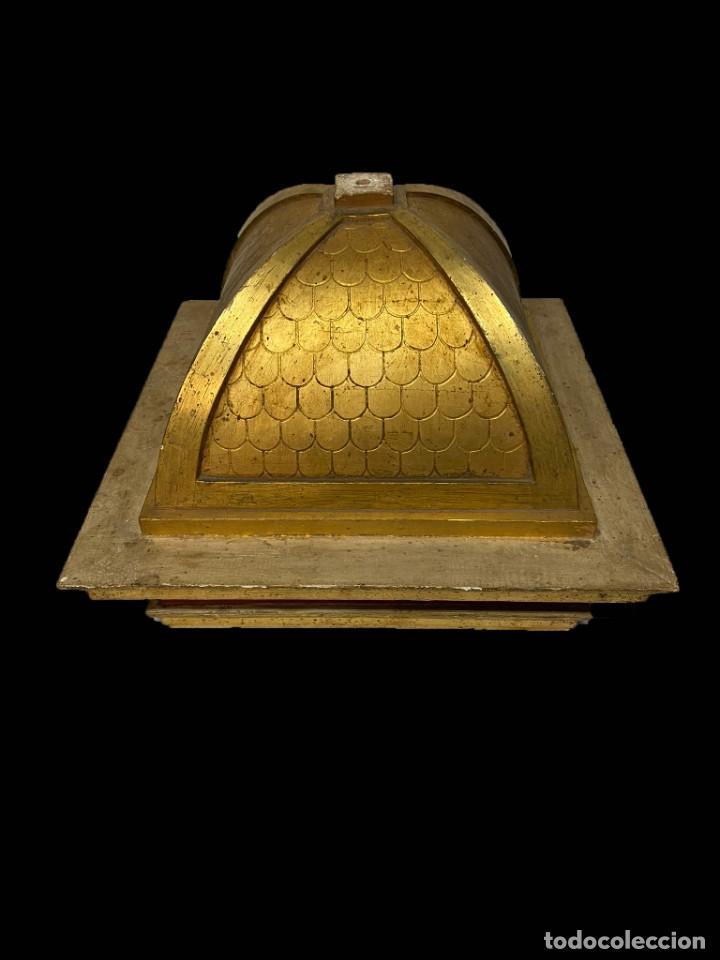 Arte: Maravillosa peana- cúpula-ménsula dorada al oro fino con preciosa base , todo original, siglo XIX - Foto 3 - 195097186
