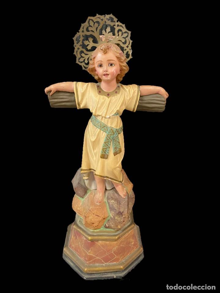 MARAVILLOSO NIÑO JESUS DE LA PASIÓN, TIPO OLOT, OJOS DE CRISTAL, IMPECABLE. (Arte - Arte Religioso - Escultura)